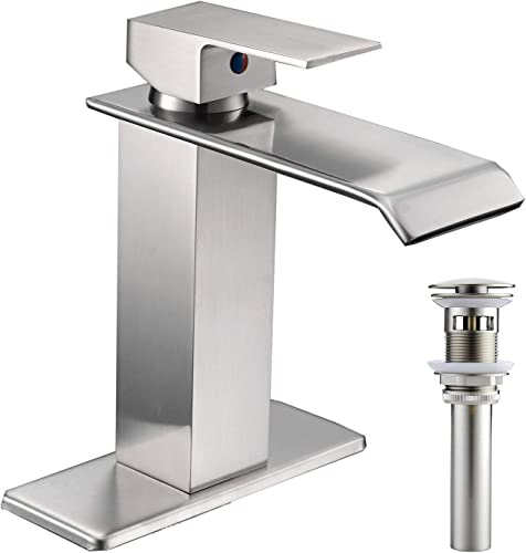 Bathfinesse Bathroom Faucet Waterfall Single Handle Single Hole Commercial Lavatory Deck Mount Brushed Nickel Matching Pop up Drain with Overflow