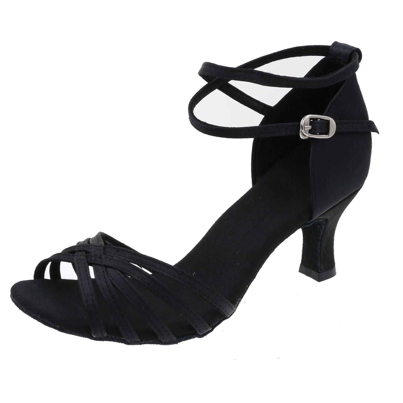 APTRO Damen Schuhe Tanzschuhe Ballsaal Latin Tanzen Silber Sandalen  37.5 EU|Schwarz