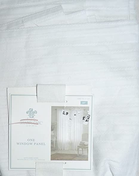 Simply Shabby Chic Dobby Stripe Sheer Curtain Panel True White 54quot