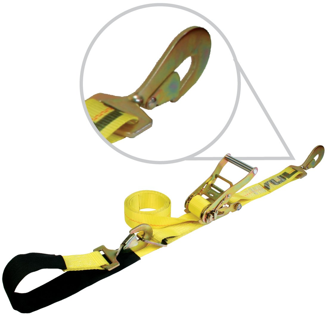 2 Inch x 114 Inch VULCAN 1-Ply Flexible Axle Tie Down Combo Strap with Snap Hook Ratchet PROSeries 4 Pack 3,300 Pound Safe Working Load