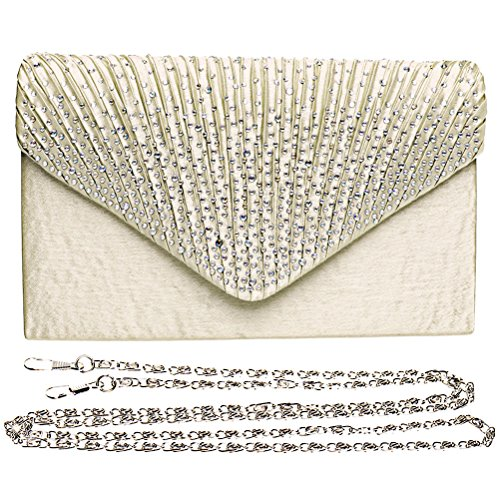 Fashion Road Women Satin Clutch, Rhinestone Evening Clutch, Envelope Clutch Purse, Pleated Flap Handbag for Wedding, Party and Prom Apricot by FASHIONROAD (Image #2)