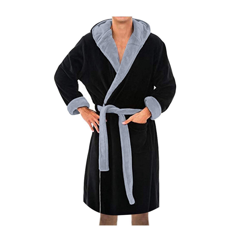 Mens Winter Lengthened Plush Shawl Bathrobe Home Clothes Long Sleeve Robe Coat Bath Robe