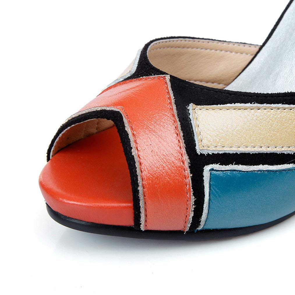 ANDERDM High-end Genuine Leather Peep Toe Sandals for Ladies Sweet Mixed Colors Ladies Prom Wedding Shoes Dainty Thin Heels