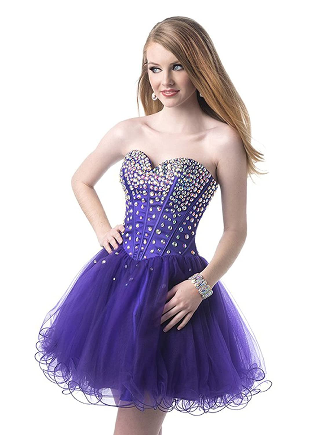 LM Women's Sweetheart Short A-line Tulle Beads Prom Party Homecoming Dresses LM086