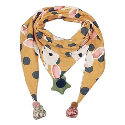 Écharpes chaudes de triangle d'enfants plus épais d'hiver, jaune et lapins de bande dessinée