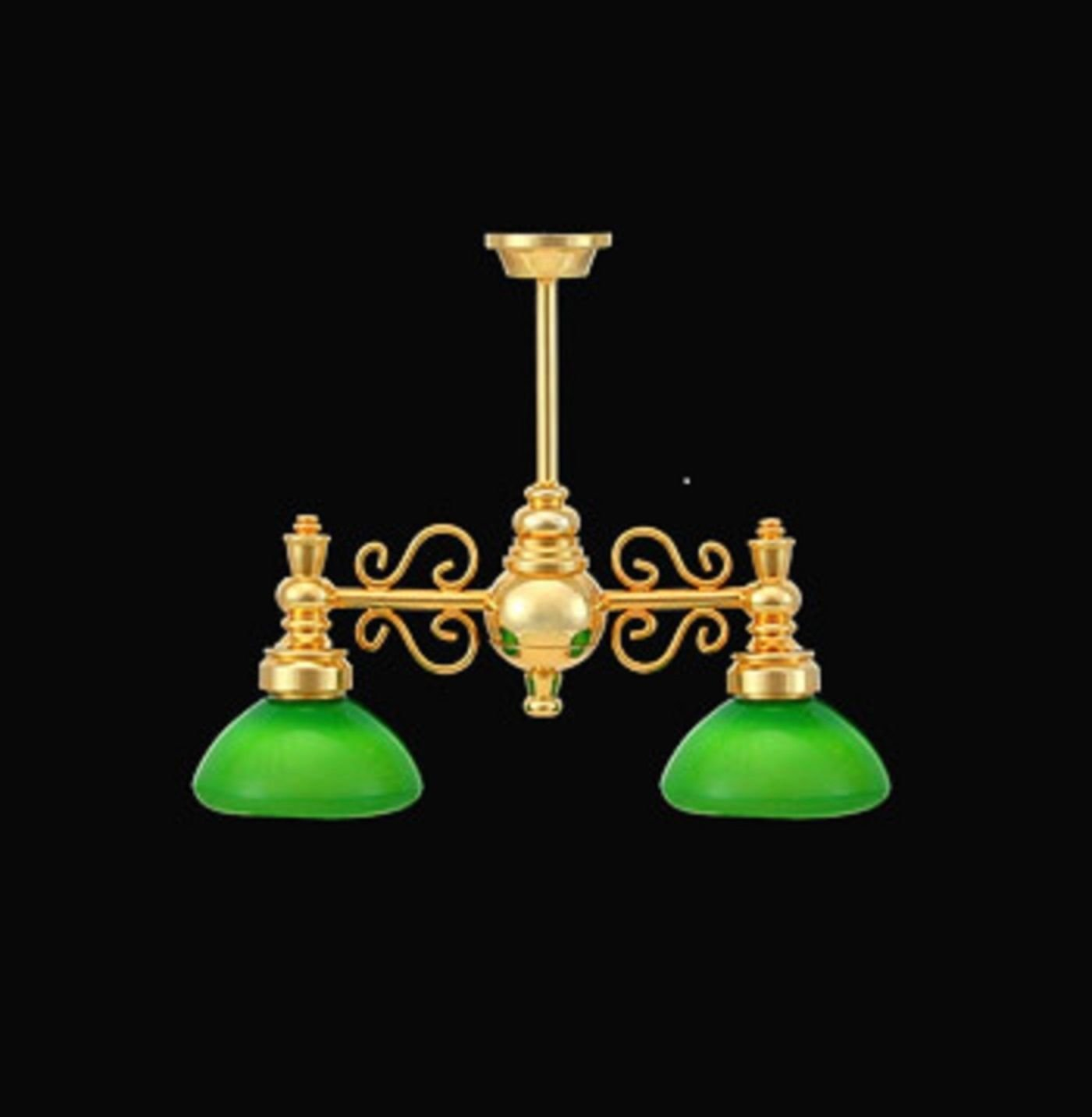 Melody Jane Dollhouse Double Billiard Light Brass Green Shades 12V Electric Lighting by Melody (Image #1)