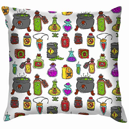 Bottle Potion Game Magic Glass Elixir Alchemy Food and Drink Soft Cotton Linen Cushion Cover Pillowcases Throw Pillow Decor Pillow Case Home Decor 26X26 Inch ()