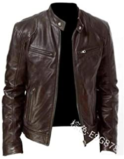 JYZJ Mens Pu Leather Warm Full-Zip Stand Collar Faux Fur Lined Moto Jacket Coat