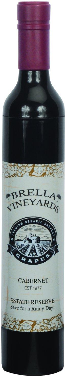 Playmaker Toys Brella Vineyards Cabernet Wine Bottle Hidden Umbrella Gift, 12in, Black