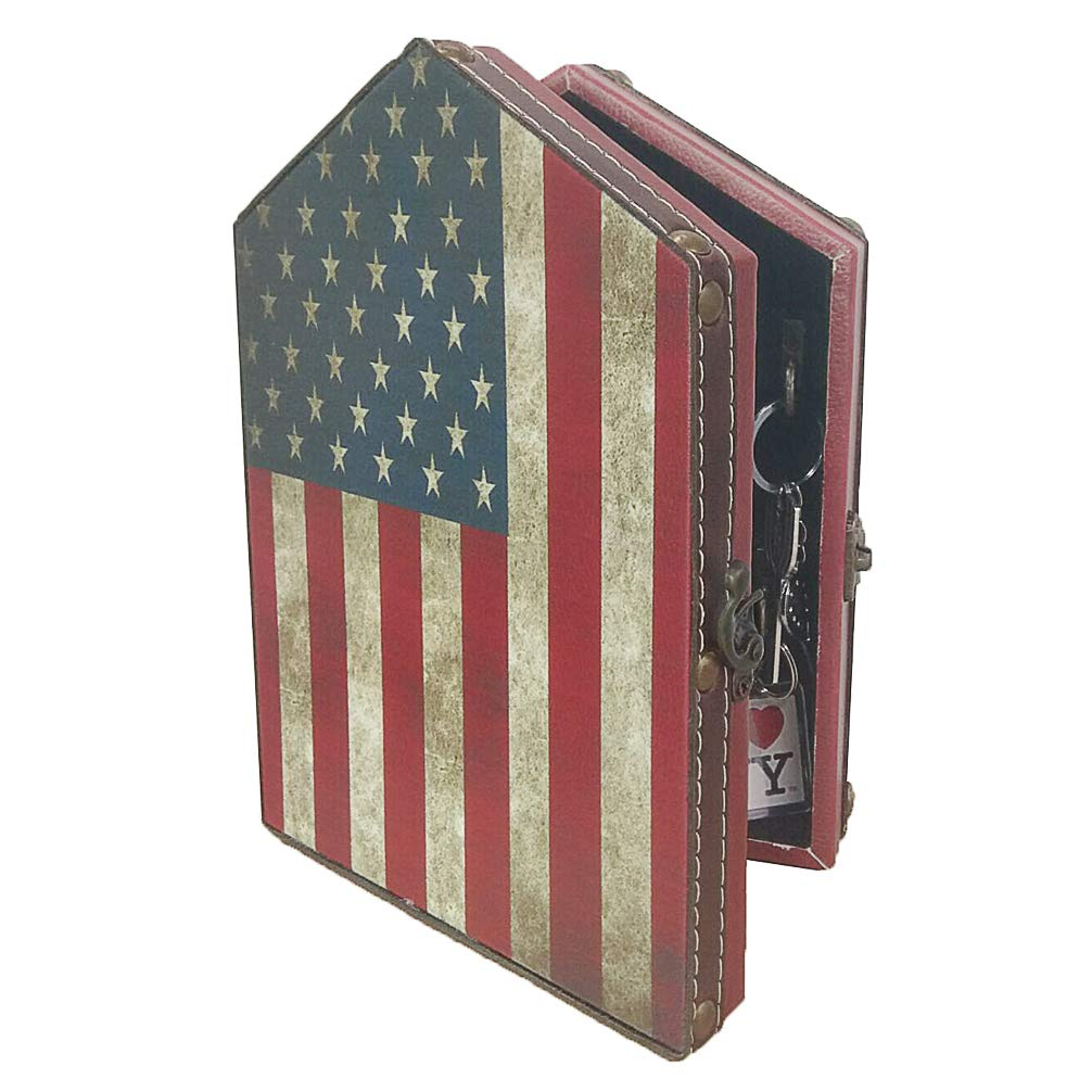 Wooden Flag Wall Key Holder - DreamsEden Vintage Key Cabinet with 6 Brass Hooks for Home Office Decoration, 9.4'' x 6.7'' x 2.4''