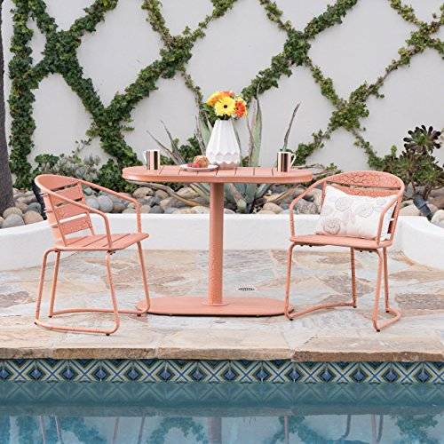 Great Deal Furniture Porto Outdoor 3 Piece Crackle Orange Finished Iron Bistro Set Review