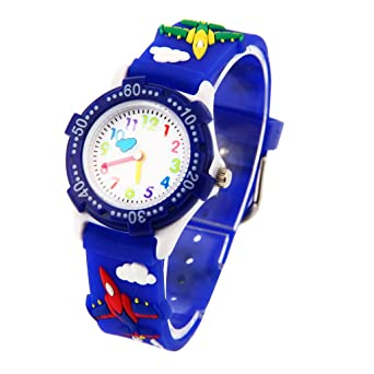 56d35b05b913b9 Montre Garçon Pédagogique Enfant avec 3D Bracelet en Caoutchouc Motif  Quartz Cadran Blanc - Bleu foncé