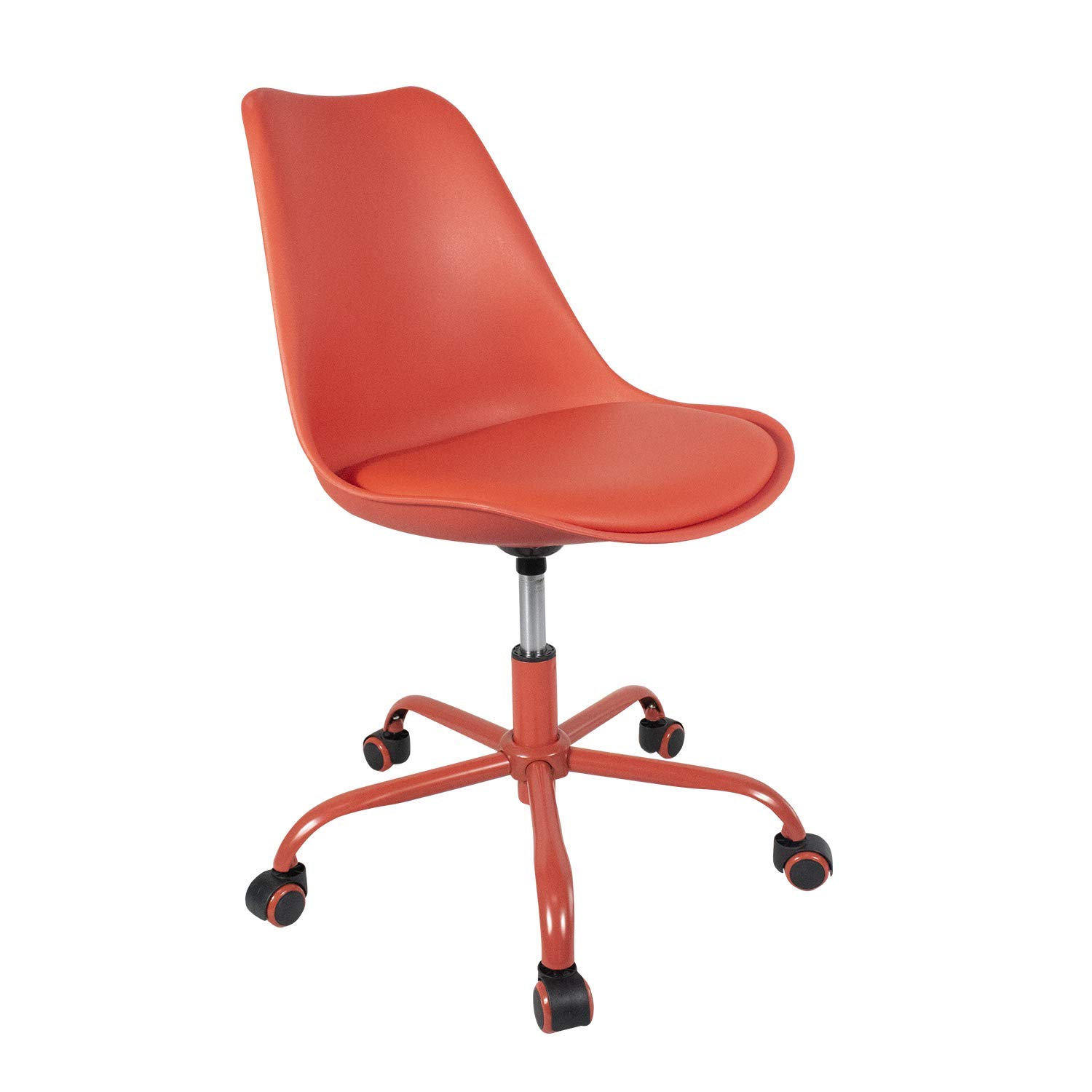 YURUCY Adjustable Height Padded Seat Mobile Chair with Wheels for Student Office Desk Dining Classic Chairs for Kitchen Home Bedroom Living Room Red