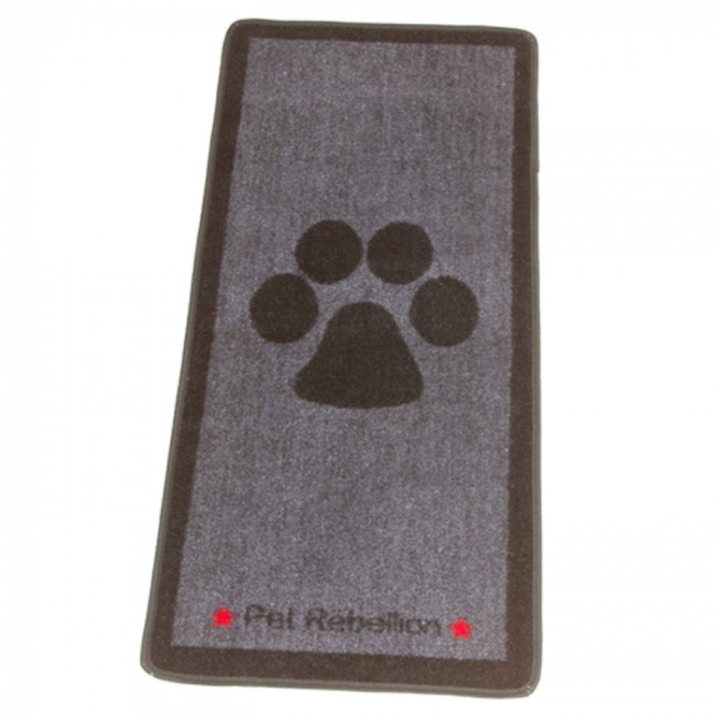 Bliss and Bloom Dog Floor Mat Rug Big Black Paw Grey Design Stop Those Muddy Paws!