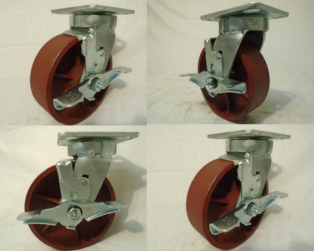6'' X 2'' Swivel Caster Kingpinless Ductile Steel Wheel with Brake 2000 Lbs Each (4)