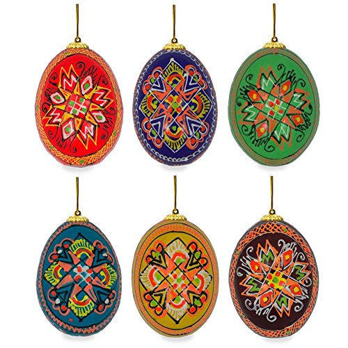 Wood easter decorations amazon 25 set of 6 hand painted wooden ukrainian easter egg ornaments negle Gallery