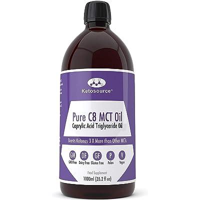 C8 MCT Aceite Puro   Produce 3 X Más Cetonas Que Otros MCT Aceites   Triglicéridos de Acido Caprílico   Paleo y Vegano Amistoso   Botella Sin BPA   Ketosource®