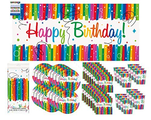 Rainbow Ribbon Birthday Party Supply Pack Bundle Serves 16 with Giant -