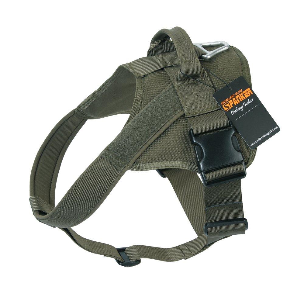 EXCELLENT ELITE SPANKER Tactical Dog Harness Military Patrol K9 Dog Harness Service Dog Vest Nylon Working Dog Vest with Handle(Ranger Green-L)