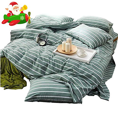 (AMWAN Green Striped Duvet Cover Set Twin Modern Soft Washed Cotton Bedding Set for Boys Girls Lightweight Kids Teens Duvet Comforter Cover Set Hotel Quality 3 Piece Bedding Collection Twin Size)
