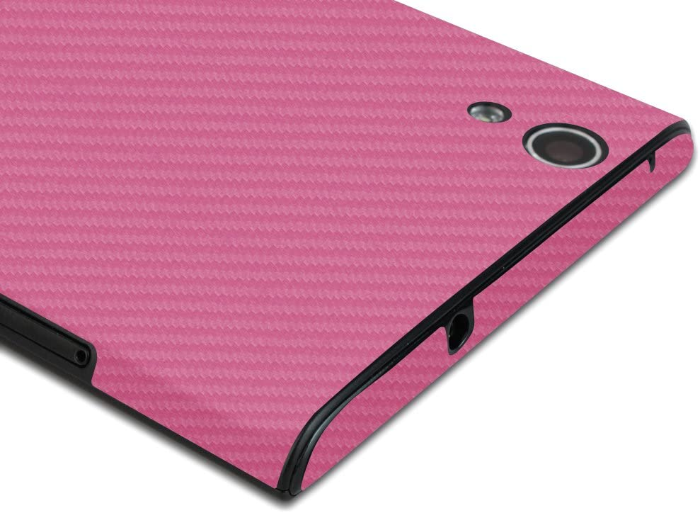 Skinomi Pink Carbon Fiber Full Body Skin Compatible with ZTE ZMax TechSkin with Anti-Bubble Clear Film Screen Protector Full Coverage