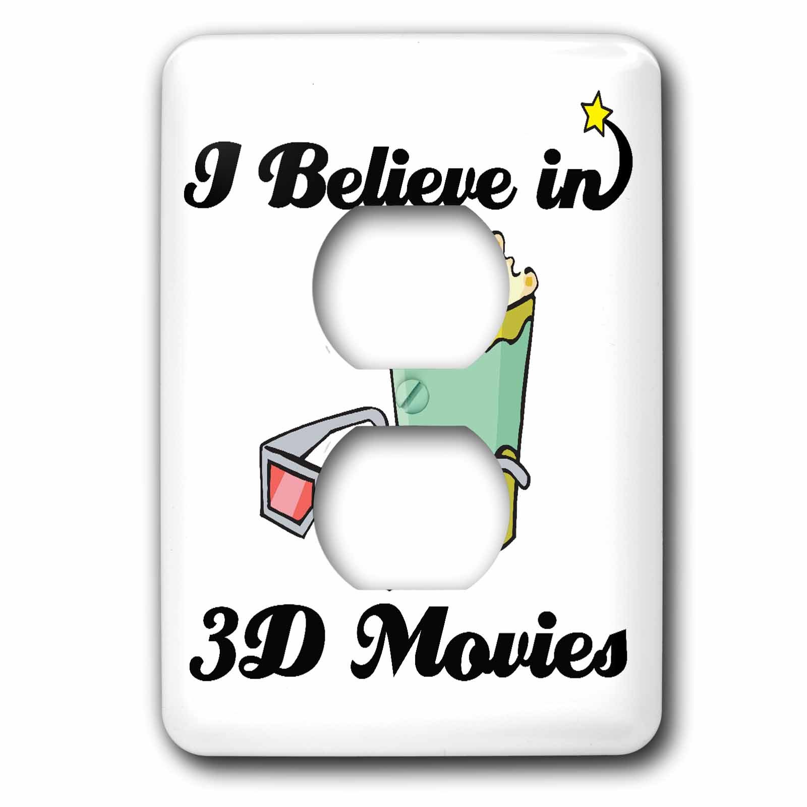 3dRose LLC lsp_104702_6 I Believe In 3d Movies 2 Plug Outlet Cover
