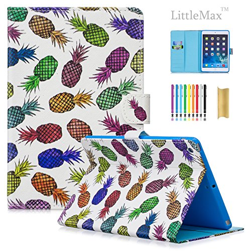 Mini 3 Case,LittleMax(TM) PU Synthetic Leather Case folio Flip Cover with Auto Wake/Sleep for Apple iPad Mini 1/2/3 7.9 inch [One Free Stylus]-05 Pineapples by LittleMax