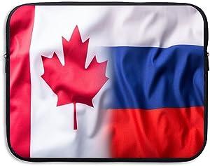 CANADA-RUSSIA Flag Sleeve Laptop Bag Tablet Case Handbag Notebook Messenger Bag For Ipad Air Macbook Pro Computer Ultrabook 13-15 Inches