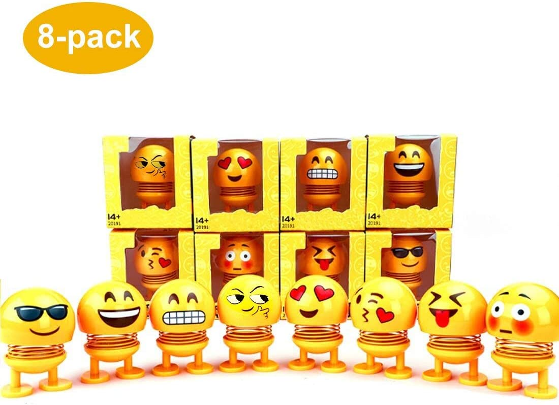 Emoji Party Supplies- Emoji Bobble Heads Dolls, 8 Pack Funny Face Springs Dancing Toys for Car Dashboard Ornaments, Party Favors, Gifts, Home Decorations, Novelty Figures Ornament Dancing Dolls