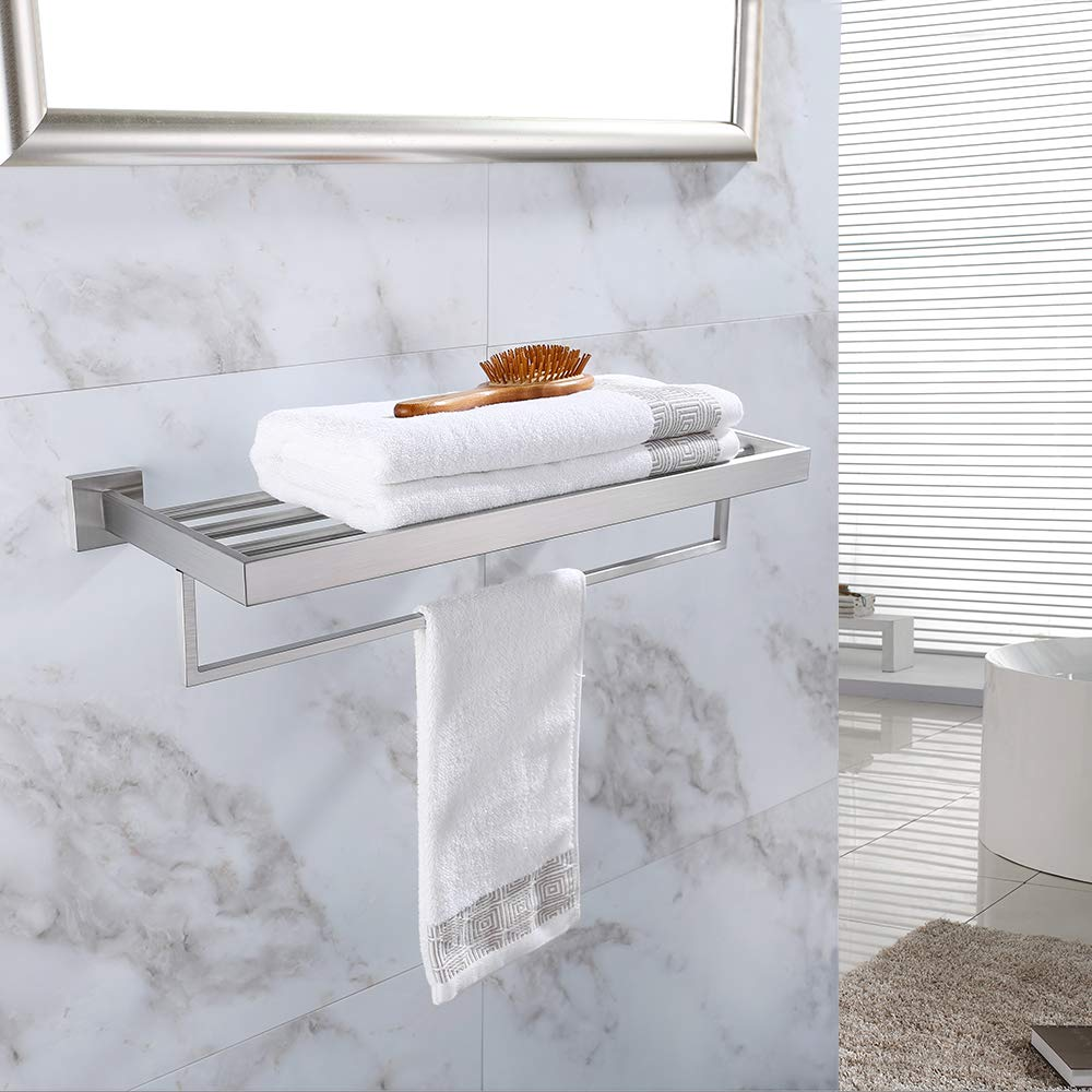 TURS Square Bathroom Bath Towel Rack with Single Towel Bar Wall Mount Shelf Rustproof Stainless Steel, Brushed Finish