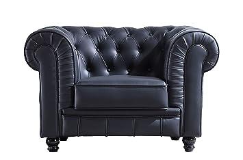 SuenosZzz - Sofa clásico Modelo Chester Color Negro. Sofa Vintage (1 Plaza), tapizado en Piel Sintetica, Botones en Respaldo y reposabrazos | Sofas ...
