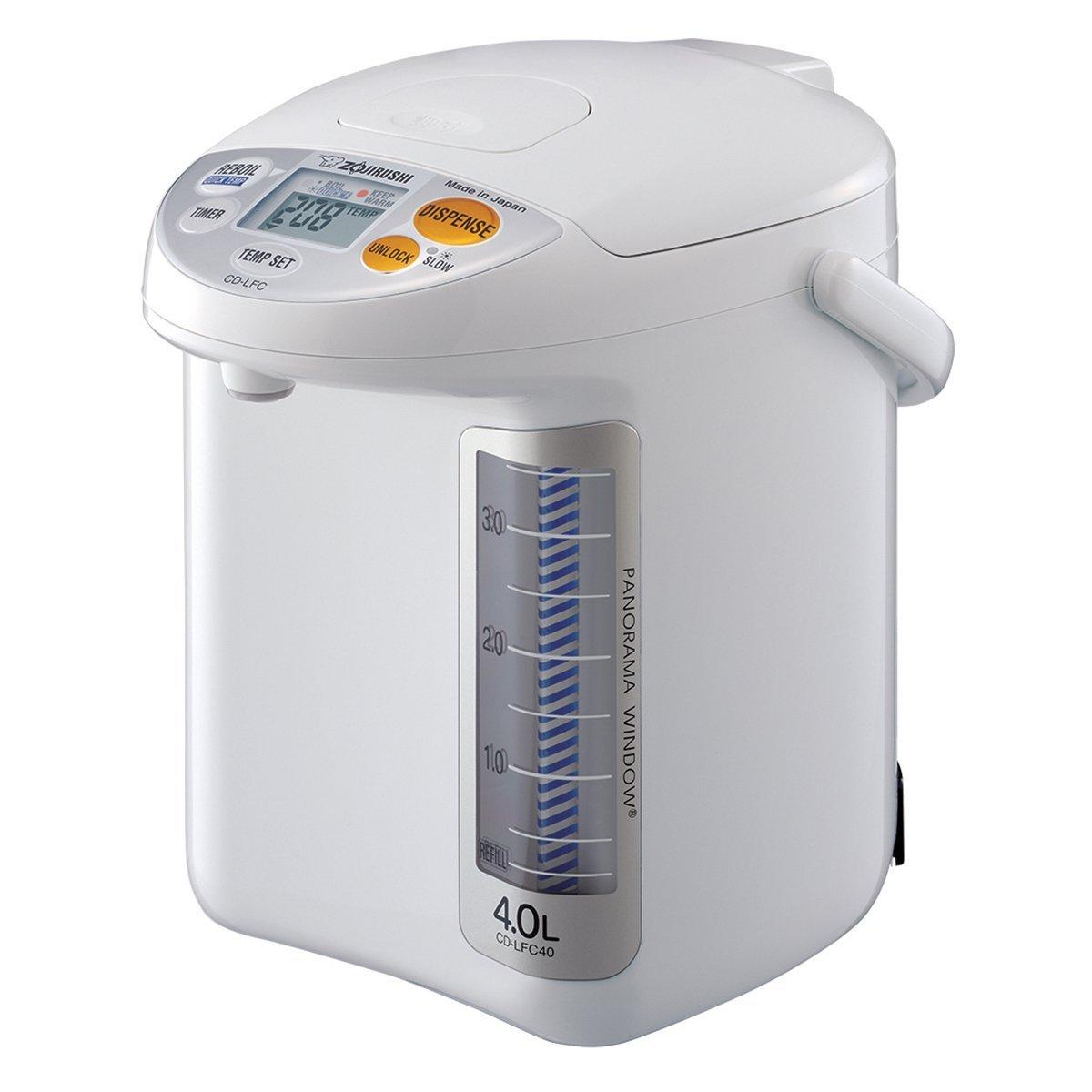 Zojirushi CD-LFC40 Panorama Window Micom Water Boiler and Warmer, 135 oz/4.0 L, White (Renewed) by Zojirushi