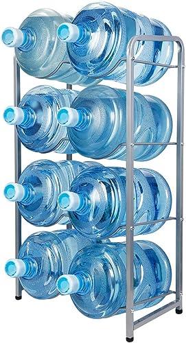 KAX 5-Gallon Water Bottle Holder 8 Trays Water Jug Rack 4-Tier Water Bottle Rack Reinforced Steel Rack for Water Storage Water Bottle Storage Rack for 8 Bottles, Silver