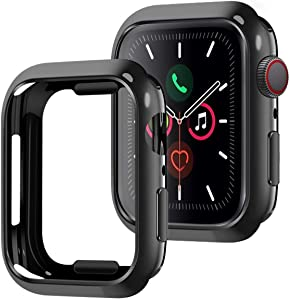 [2Pack] Tensea Compatible for Apple Watch Series 4 5 6 SE Case Protector 44mm, 2 Pack Ultra-Thin Protective Bumper Soft Flexible TPU Cover Replacement for iwatch Case Series 4 5 6 SE (Black)