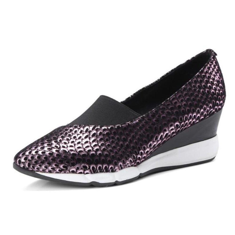 LOHU Frauen-Damen-Frühlings-Lederkeil zeigte Arbeits-Schuhe Wilden flachen Mund Faule Schuhe Bequeme im Freien beiläufige Schuhe GlamGoldus Hof beschuht Pumpen