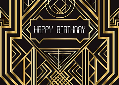 Qian 7x5ft Photography Backdrops Great Gatsby Happy Birthday Party Background Black and Gold Golden Banner Photo Studio Booth -