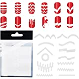 10 Sets With 347pcs Professional Decals Nail Art Stencils White Guides Stickers / Strips In 13 Different Shapes For French Tips Nails Manicure Designs / Patterns Application