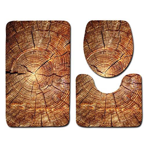 Sothread 3PC/Set Creative Wood Pattern Non-Slip Mat Pedestal Pad+Lid Toilet Cover+U pad (A) (Living Room Sale For Sets Cheap Furniture)