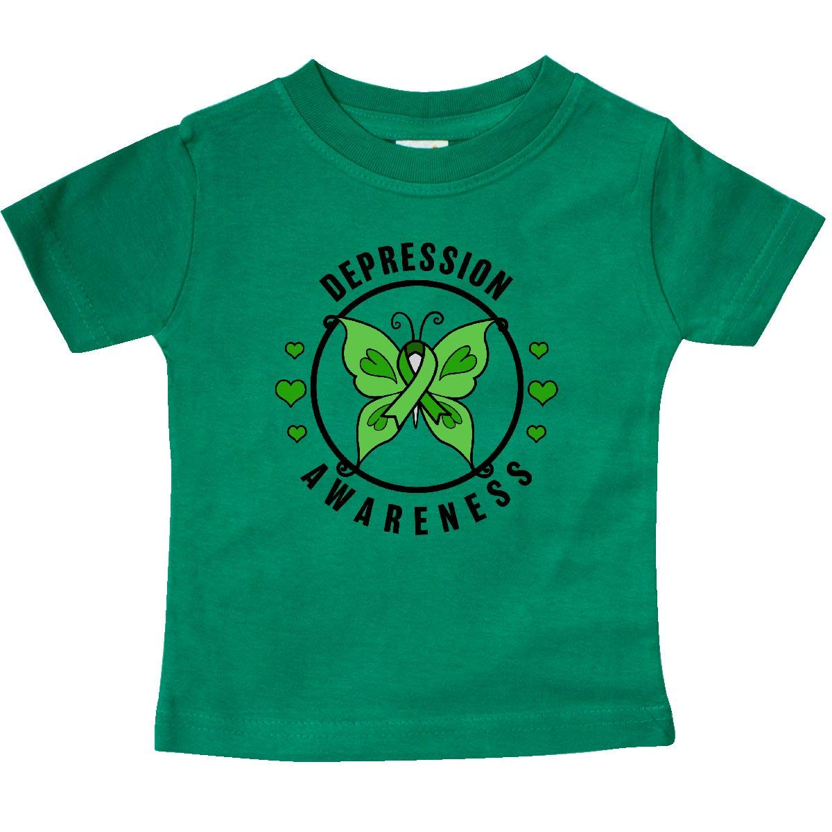 inktastic Butterfly and Green Ribbon for Depression Awareness Baby T-Shirt