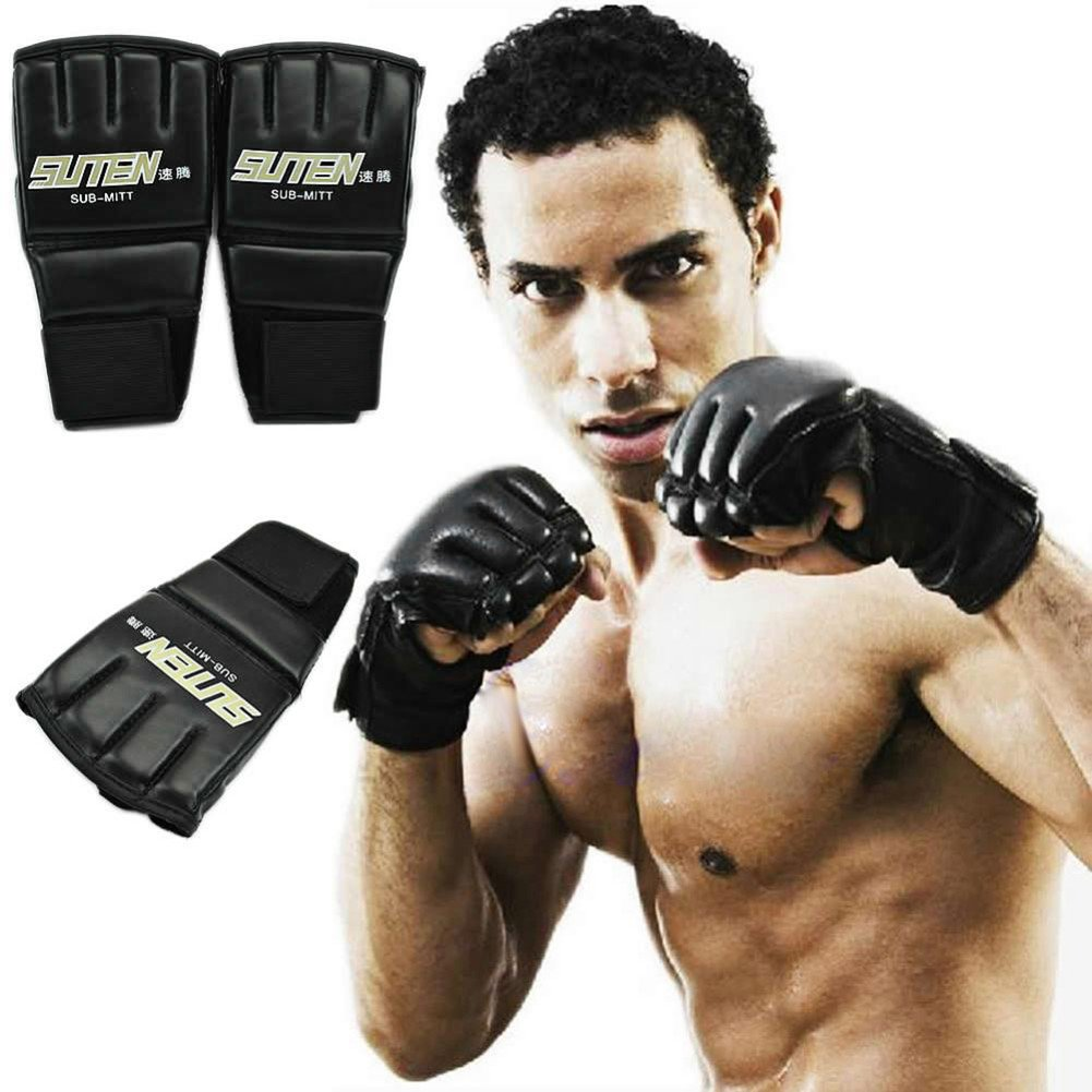 Practice Half Mitt Boxing Glove Sparring Kick MMA Muay Thai Gym Punching Gloves