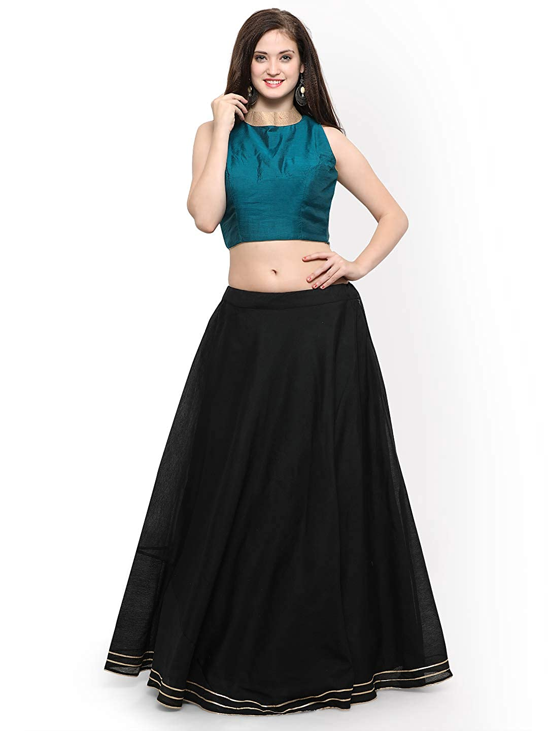 bluee Generic WOMN Black & Semi Stitched Lehenga with Blouse
