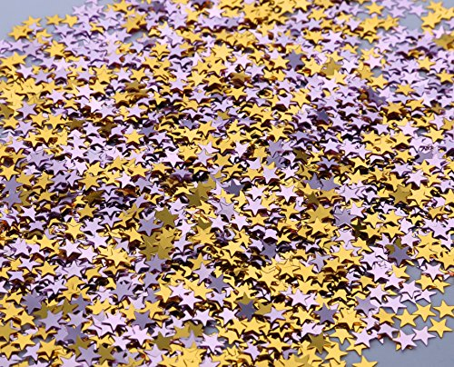I-MART Star Glitter Table Confetti for Party, Wedding, Graduation, Decorations, DIY Crafts,Premium Nail Art, 1 Ounce (Gold and (Gold And Purple Decorations)
