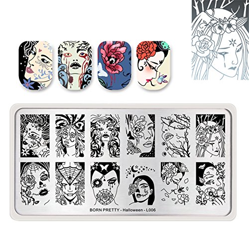 (BORN PRETTY Nail Art Stamp Templates Halloween Stamping Image Rectangle Stamp Plate Fairy Flower)