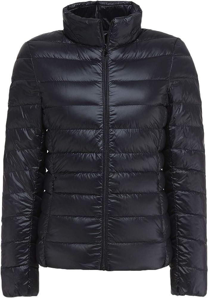 54f175c4945 Sawadikaa Women's Ultra Light Packable Stand Collar Winter Pillow Down  Puffer Jacket Coat Black X-