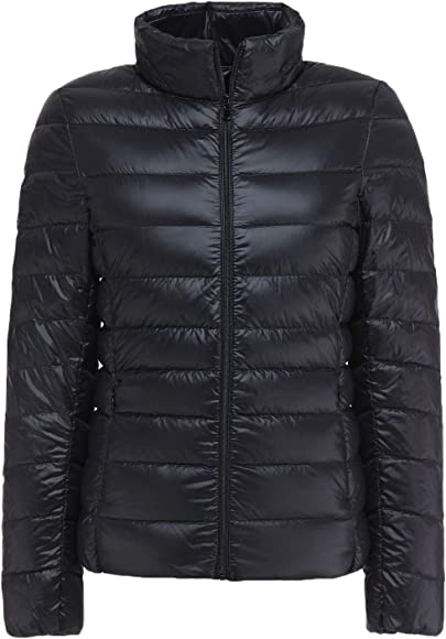 67763253eb Sawadikaa Women's Ultra Light Packable Stand Collar Winter Pillow Down Puffer  Jacket Coat Black X-
