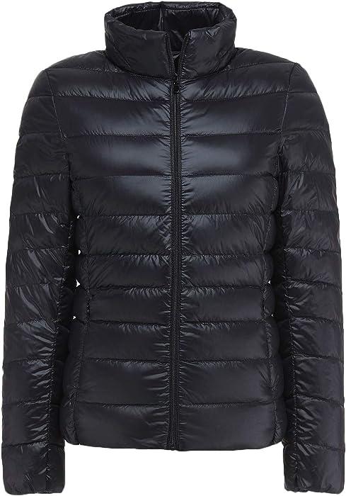 a3752fd5367 Sawadikaa Women s Ultra Light Packable Stand Collar Winter Pillow Down  Puffer Jacket Coat Black X-