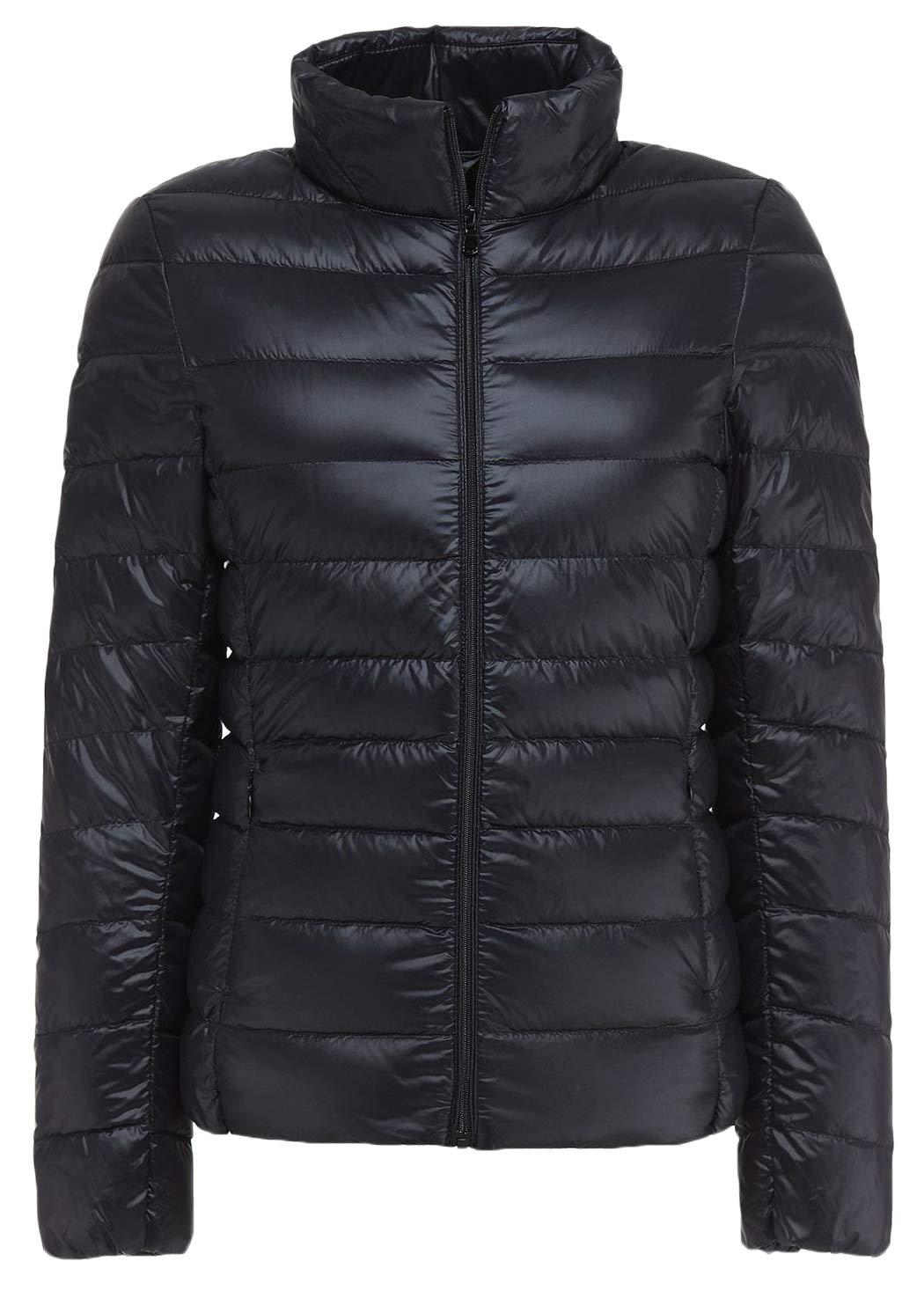 5356598d02c Galleon - Sawadikaa Women s Ultra Light Packable Winter Down Puffer Jacket  Coat Quilted Lightweight Down Parka Jacket Black X-Large