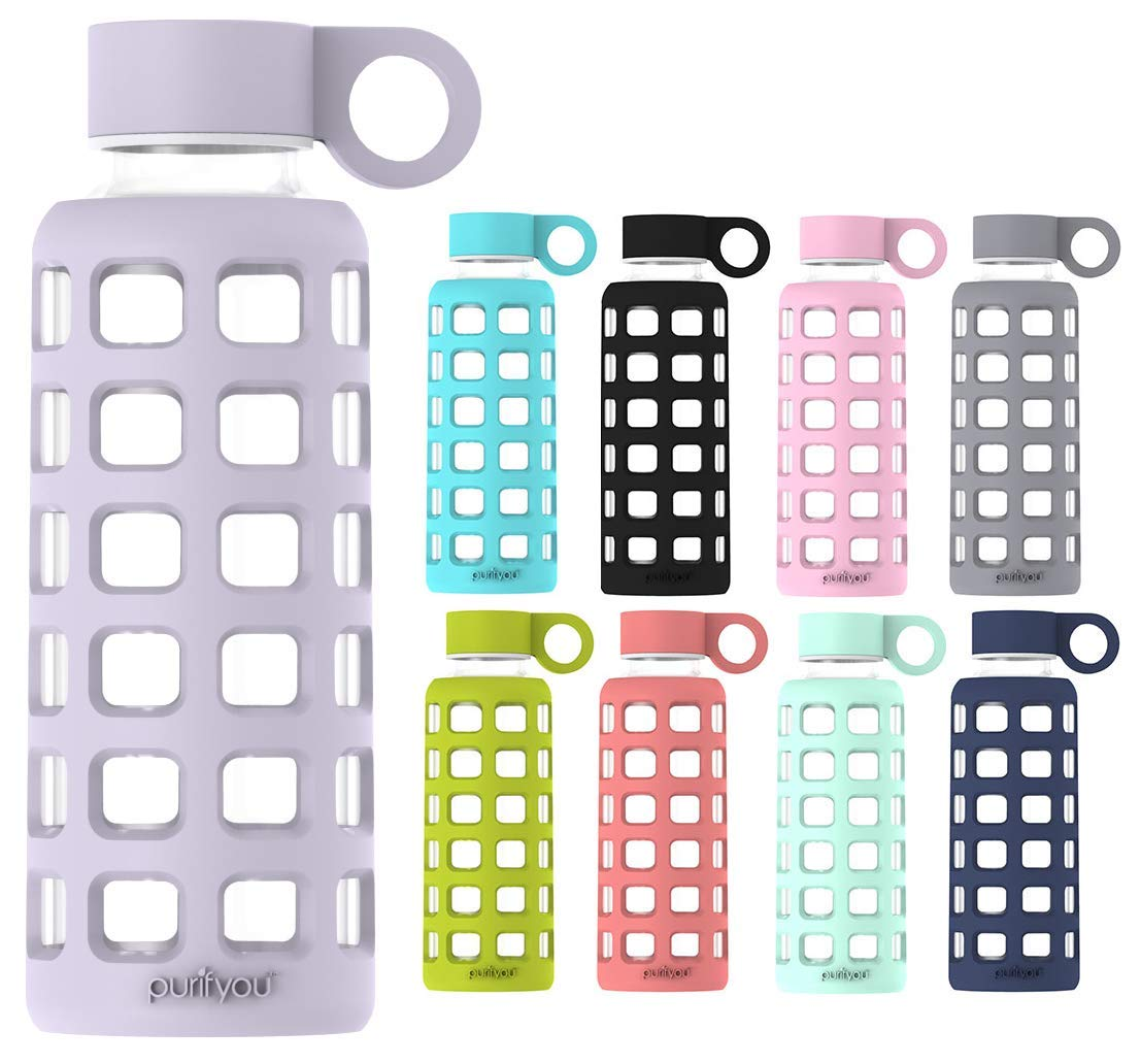 purifyou Premium Glass Water Bottle with Silicone Sleeve and Stainless Steel Lid, 32/22 / 12 oz (Lavender, 22 oz)
