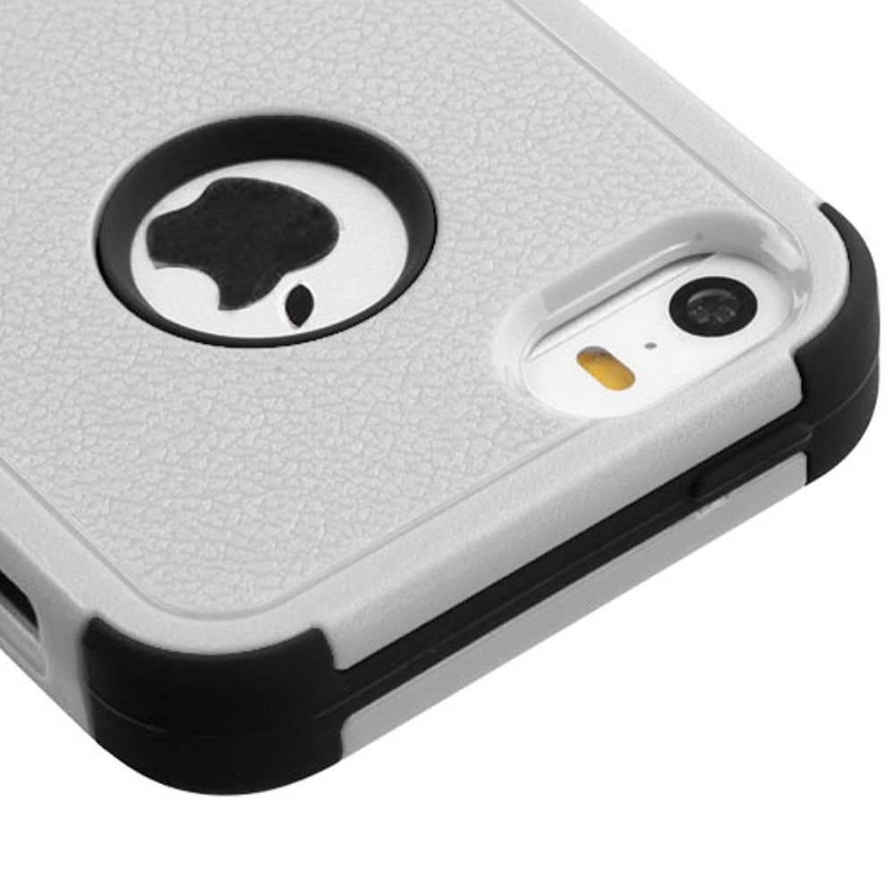 Asmyna Cell Phone Case for Apple iPhone SE - Natural Gray/Black