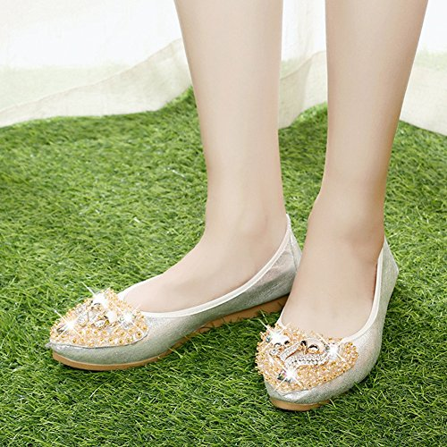 Shoe Soft Ballet Women's Rhinestone Slip T Gold Flat On JULY Foldable ZSzwxFTq